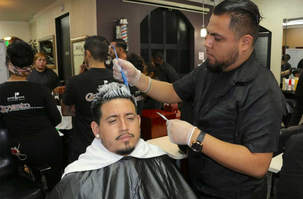 Barbering Students on Hair Color Training